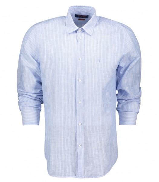 Hemd aus gestreifften Leinen im Close Fit