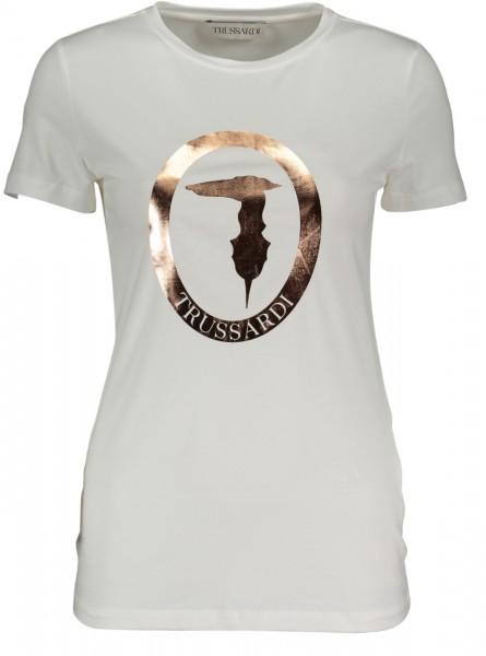 T-Shirt mit Metallic Logo white