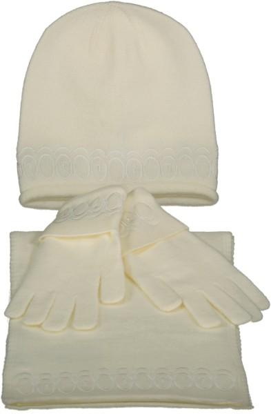 3 Tlg. Damenset Schal mit Kappe und Handschuhe