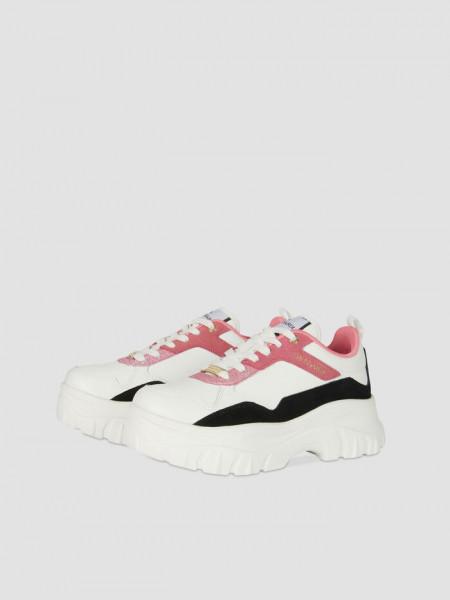 Sneaker Chorisia mix Leder und Velour pink