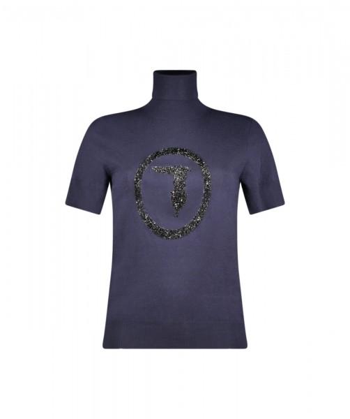 Rollkragen Pullover aus Viscose mit Logo navy blue